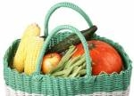 Straw Basket with Produce