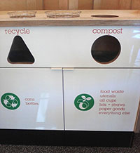 Recycle and Compost Bins at The Melt - Photo by Author's Niece Emma