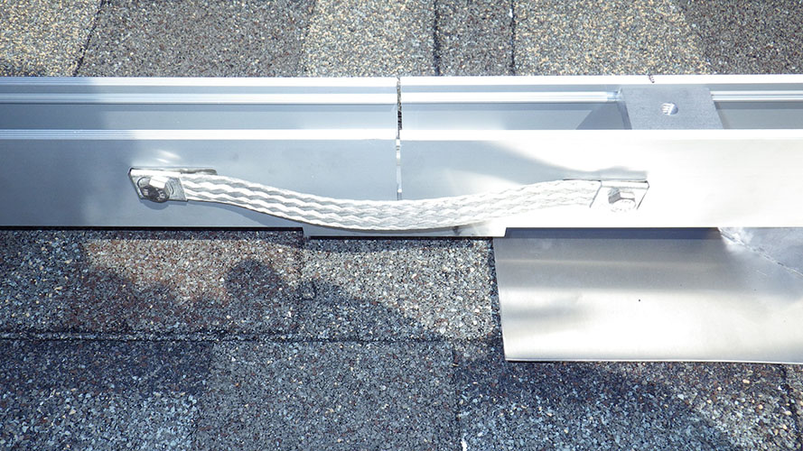 PV System Rails with Bond Jumper
