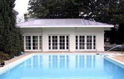 White House Pool Cabana Solar Thermal System - Photo: Solar Design Associates