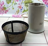 Author's Reusable Mesh Coffee Filter and Coffee Bean Grinder