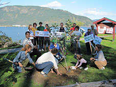 People Planting Trees in Cowichan Bay, BC, Canada