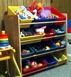 Toys Put Away on Shelves