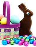 Easter Basket with Eggs, Candy, and Chocolate Bunny