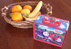 Author's Son's Thomas the Tank Engine Lunch Box and Basket with Fruit