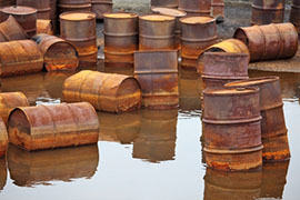 Rusty Fuel Drums in Arctic Waters