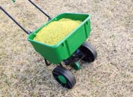 Two-Wheeled Lawn Fertilizer Dispenser with Fertilizer on Brown Lawn