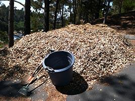 Author's Beginning Wood Chip Pile, Shovel, Rake, and Tub