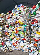 Bales of Plastic Containers Awaiting Recycling