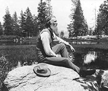 John Muir by Mirror Lake in Yosemite, CA - Library of Congress
