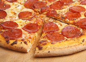 Sliced Pepperoni and Cheese Pizza
