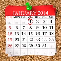 Calendar with January 1, 2014 Circled in Red