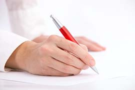 Woman Writing a Letter with a Pen