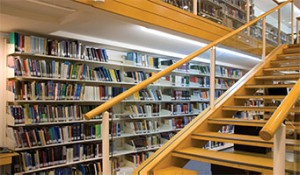 Library Interior with Bookshelves and Stairs