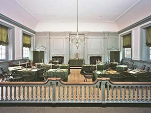 Assembly Room of the Pennsylvania State House, Philadelphia, PA - Photo: NPS