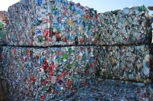 Bales of Crushed Aluminum Cans Awaiting Recycling – Photo: West Boylston, MA