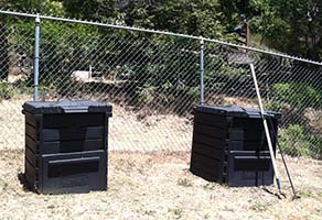 Author's Two Compost Bins, Circle Hoe, and Aerator