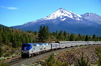 Amtrak Coast Starlight with Cascade Mountains, OR Scenery - Photo: Uncle Bob