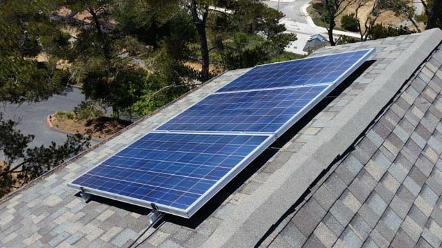 3 Solar Panels on South Facing Side of Author's Roof