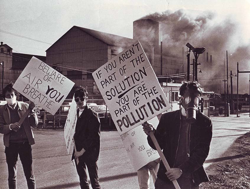 Doug Draper and other Protesters Carrying Earth Day Posters April 22, 1970 - Photo: Doug Draper