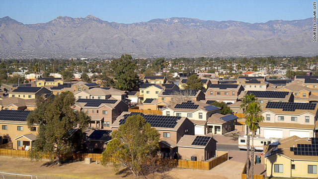 Homes with Rooftop Solar Panels at Davis-Monthan Air Force Base, Tucson, AZ - Photo: Solar City