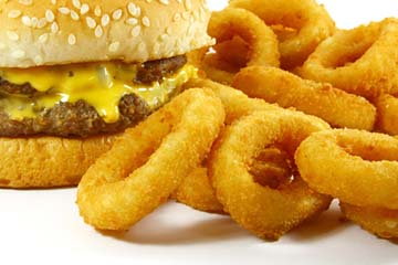 Fast Food Cheeseburger and Deep Fried Onion Rings