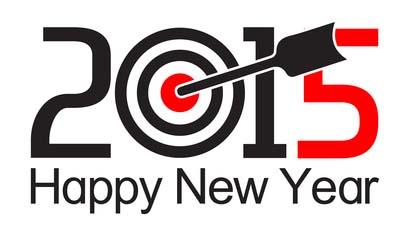 New Year's Resolution - 2015 Happy New Year Sign and Target with Arrow in Bullseye
