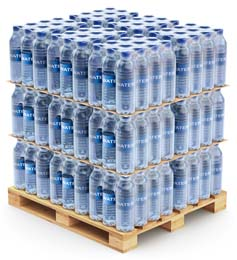 Shrink-Wrapped Single-Serving Bottles of Bottled Water on Pallet