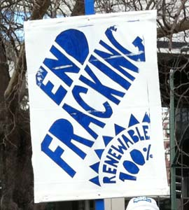 "Anti-Fracking Sign that says ""End Fracking, Renewable 100%"""