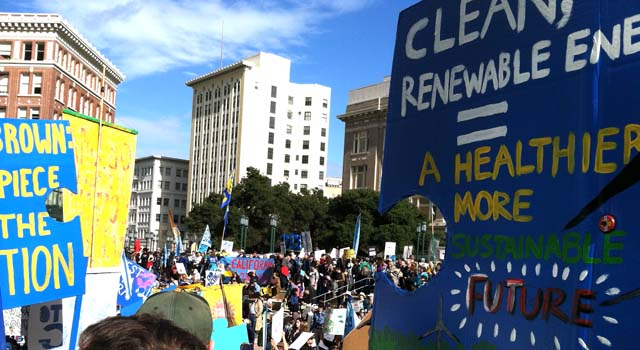 People Gathering before March For Real Climate Leadership - February 7, 2015