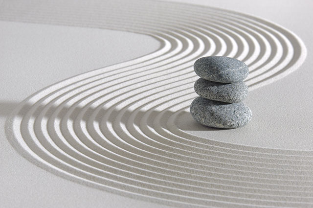 Zen Garden with Sand Swirl and Balance Stones