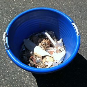 Tub of Trash Picked Up on Coastal Cleanup Day September, 16, 2017
