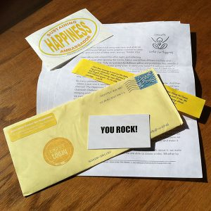 Happiness Sprinkling Project Newsletter, Sticker, and You Rock Card