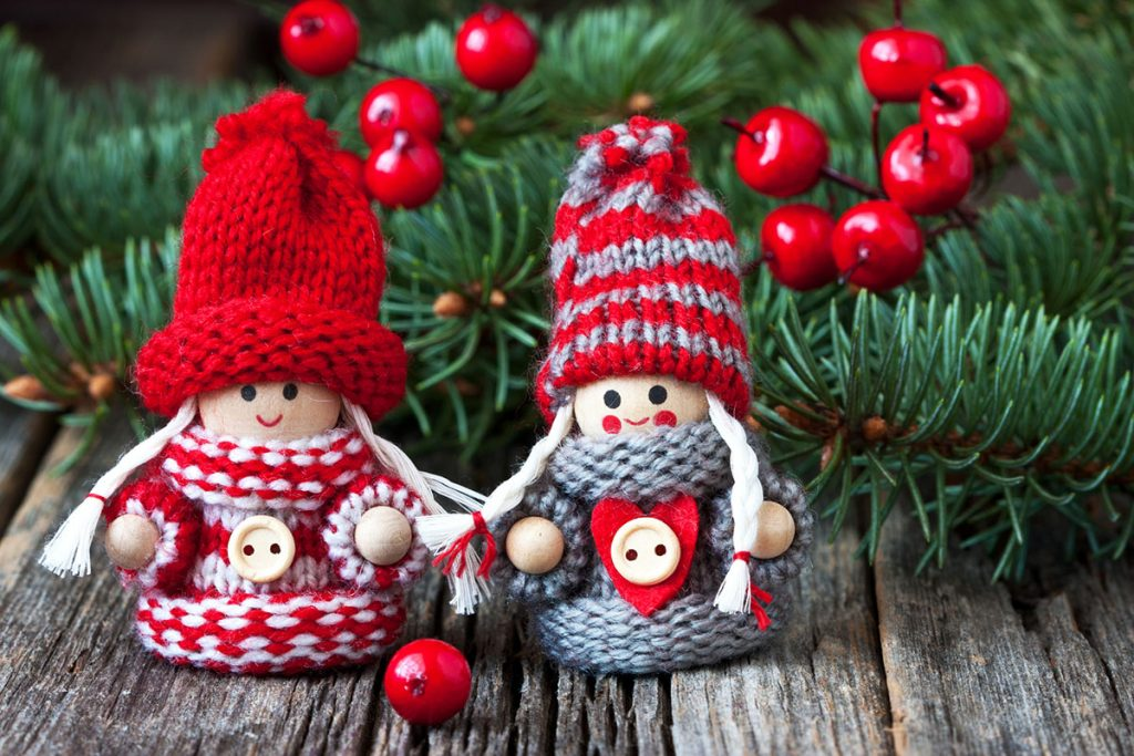 Christmas Gnomes Wearing Knitted Sweaters and Hats