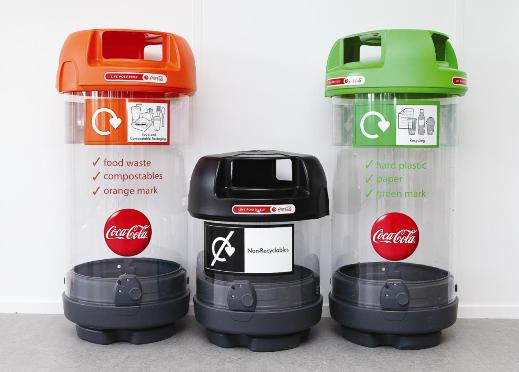 Olympic Recycle, Compost, Trash Bins