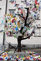 Tree with Plastic Bags Hanging On it