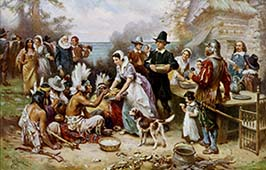 The First Thanksgiving - Painted by Jean Leon Gerome Ferris