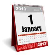 2013 Calendar Showing January 1