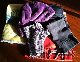 Author's Indoor Warm Clothing Collection - hat, neck gaiter, scarf, base layer, fingerless mittens, fleece throw