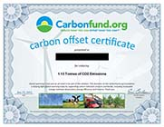 Carbonfund.org Carbon Offset Certificate Example