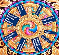 Bhutan Gross National Happiness Wheel with 9 Domains