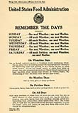 1918 U.S. Food Administration Remember the Days Poster