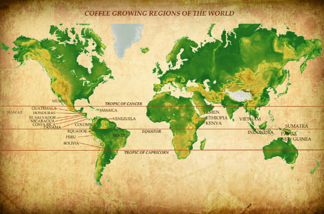 """Bean Belt"" - Coffee Growing Regions of the World"