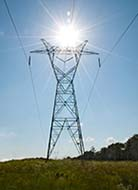 Electrical Transmission Tower with Shining Sun