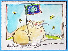 Angel Cat Flying The Planet Earth Flag Postcard by Paula Zima