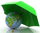 Earth Globe Protected by Green Umbrella - Earth Day
