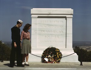 Sailor and Woman at Tomb of the Unknown Soldier Arlington Naitonal Cemetery
