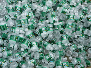 Pile of Nestle Waters North America Poland Spring Half-Pint Empty Water Bottles
