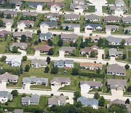 Aerial View of Residential Neighborhood with Turf Grass Lawns