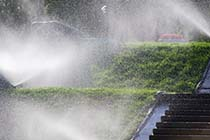 Sprinklers Watering a Lawn, Stairs, and the Air